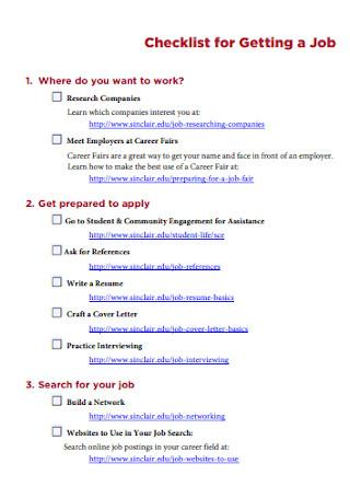 Checklist for a Getting Job