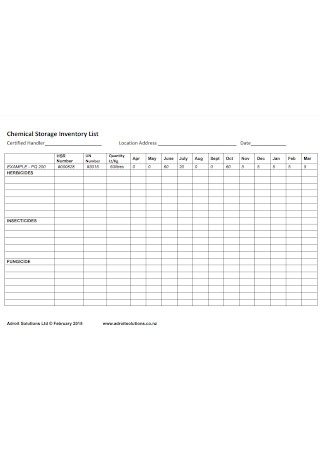 Chemical Storage Inventory List