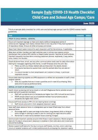 Child Care Health Checklist