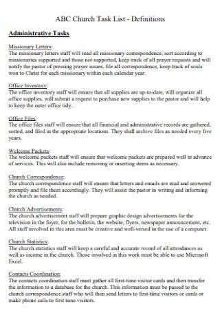 Church Task List