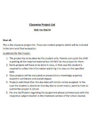 Classwise Project List Template