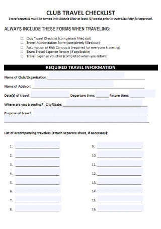 Club Travel Checklist