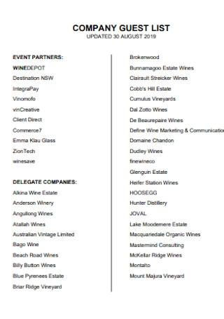 Company Guest List Template