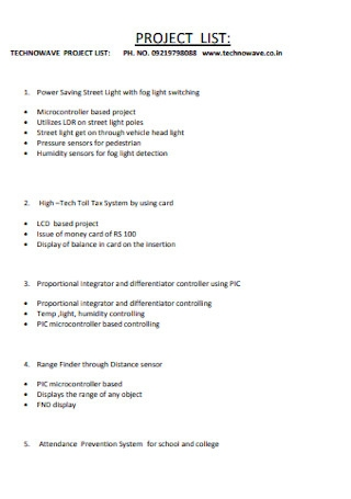 Company Project List Template