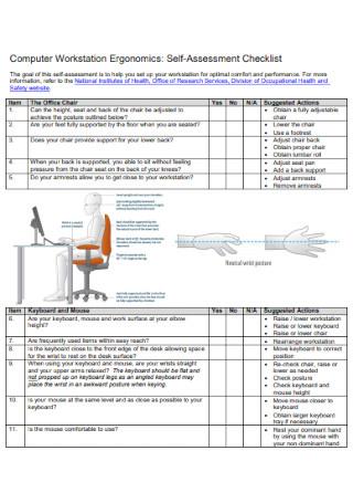 Computer Workstation Self Assessment Checklist