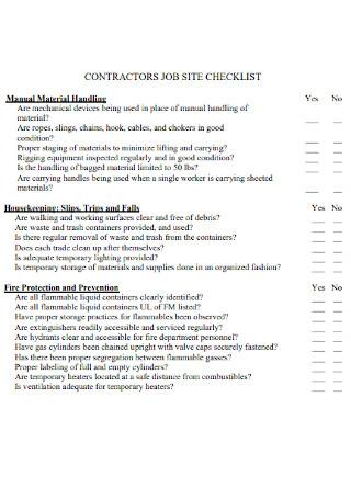 Contractors Job Site Checklist