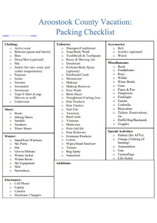 County Vacation Packing Checklist