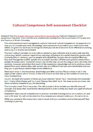 Cultural Competence Self assessment Checklist