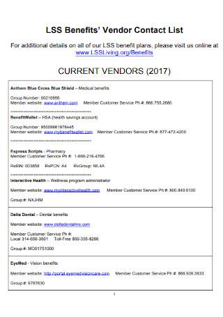 Current Vendor Contact List