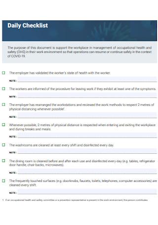 Daily Checklist Format