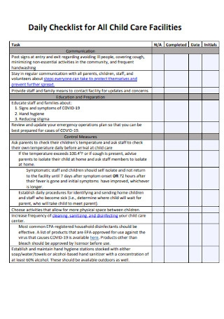 Daily Checklist for All Child Care