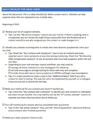 Daily Checklist for Arias Users