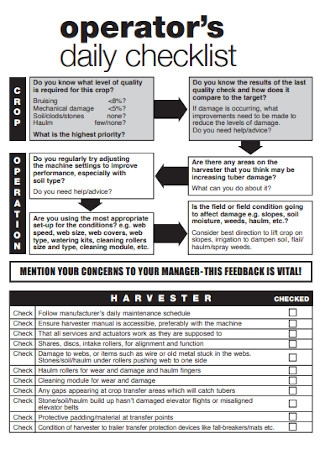 Daily Daily Checklist Template