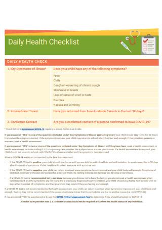 Daily Health Checklist