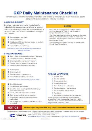 Daily Maintenance Checklist Template