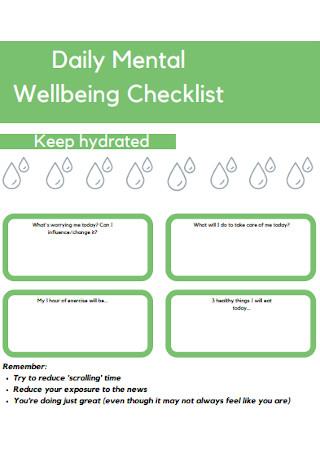 Daily Mental Wellbeing Checklist