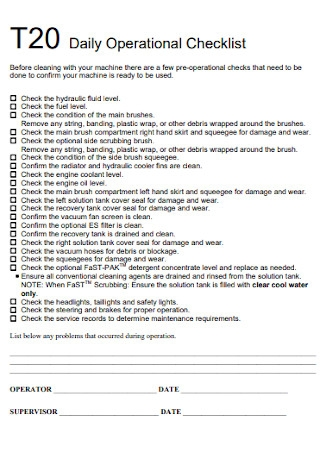 Daily Operational Checklist