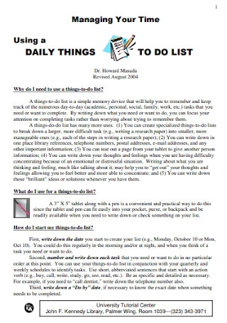 Daily Things to do List