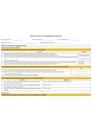 District Level Self Assessment Checklist