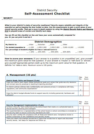 District Security Self Assessment Checklist