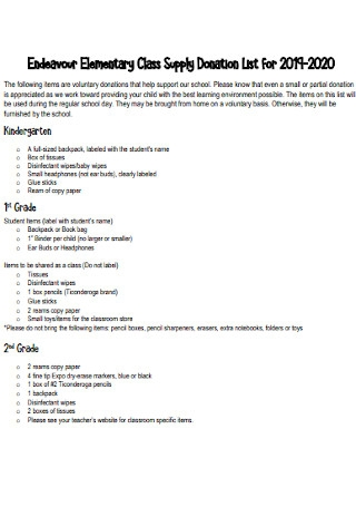 Elementary Class Supply Donation List