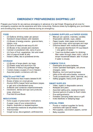 Emergency Preparedness Shopping List