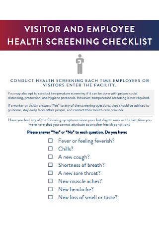 Employee Health Screening Checklist