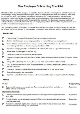 Employee Onboarding Checklist Example