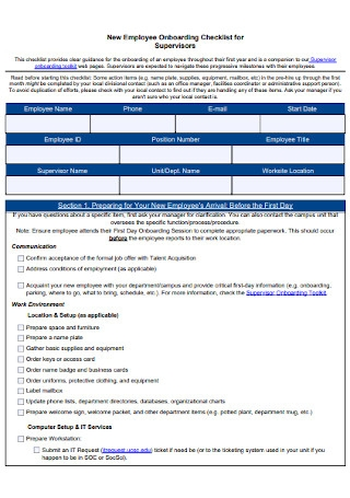 Employee Onboarding Checklist for Supervisors