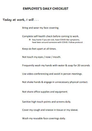 Employees Daily Checklist Template