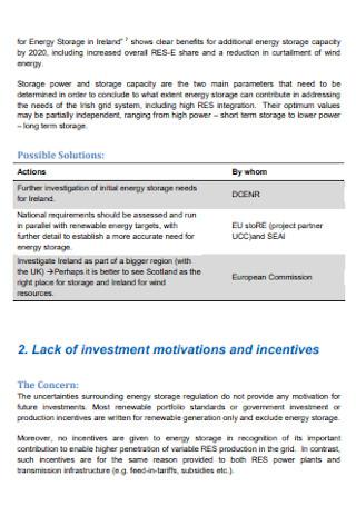 Energy Storage Action List