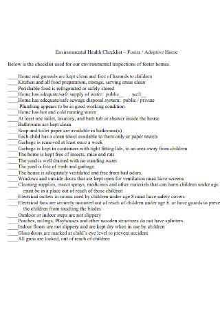Environmental Health Checklist Example