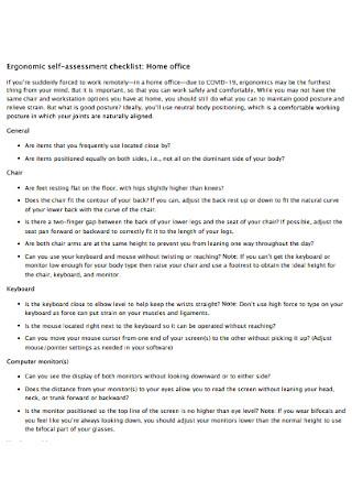 Ergonomic Self assessment Checklist