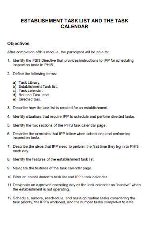 Establishment Task List Template