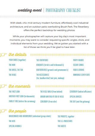 Event Photography Checklist