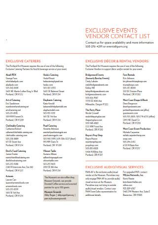 Event Vendor Contact List