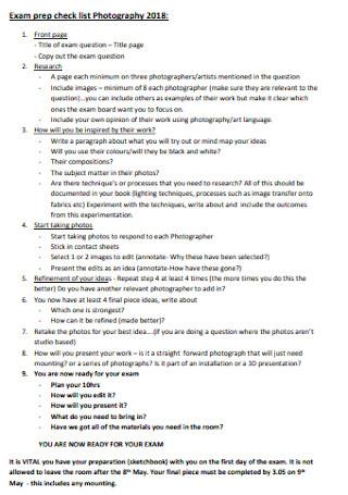 Exam Pre Checklist for Photography