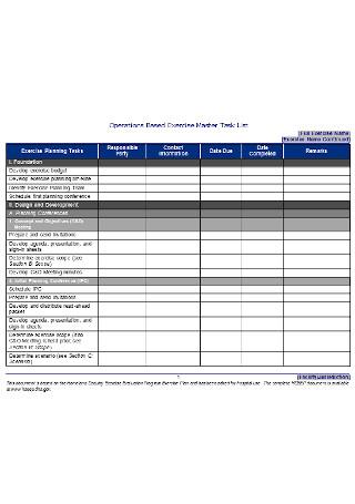 Exercise Master Task List