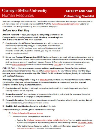 Faculty Employees Onboardiing Checklist