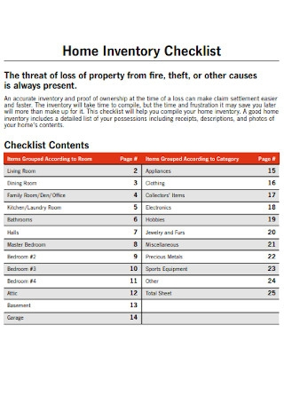 Farm Home Inventory Checklist