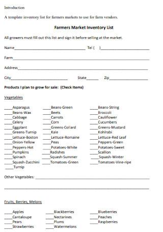 Farmers Market Inventory List