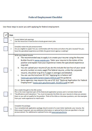 Federal Employment Checklist