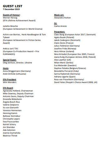 Film Guest List Template