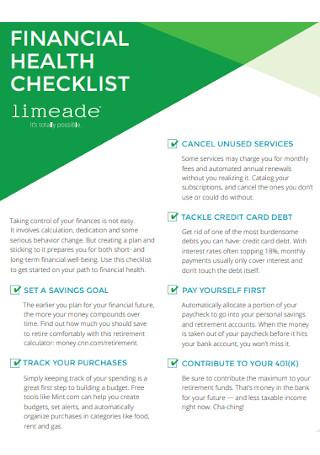 Financial Health Checklist Template