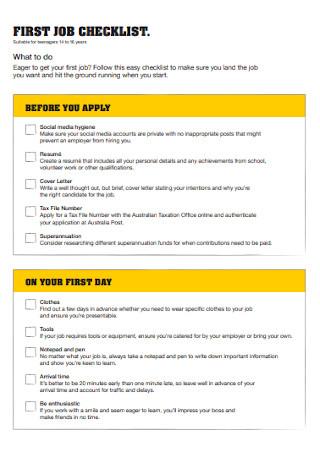 First job Checklist Template