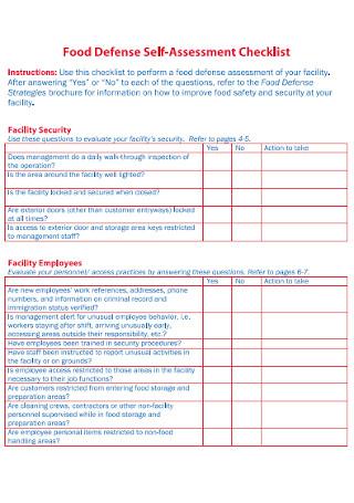 Food Defence Self Assessment Checklist