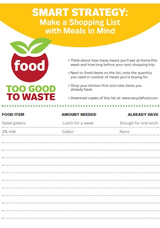 Food Shopping List Template