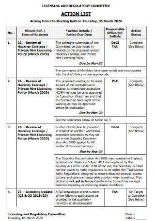 Formal Action list Tempolate