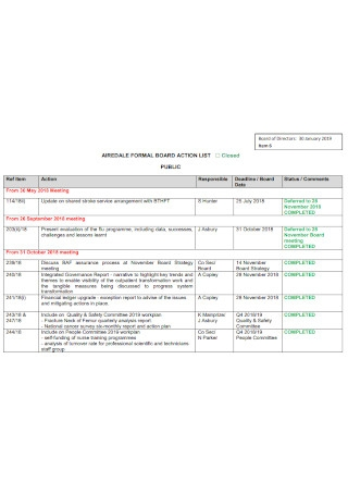 Formal Board Action List Template
