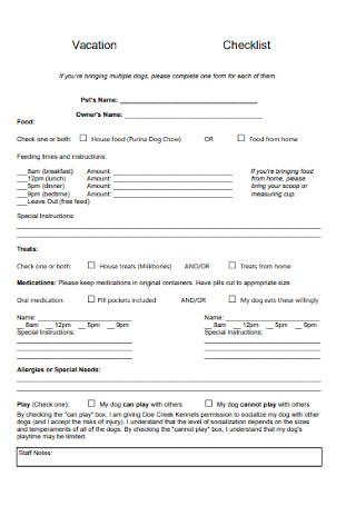 Formal Vacation Checklist Template